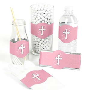 Little Miracle Girl Pink - Gray Cross - DIY Party Wrappers - 15 ct