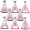 Little Miracle Girl Pink & Gray Cross - Personalized Mini Cone Baptism or Baby Shower Party Hats - Small Little Party Hats - Set of 10