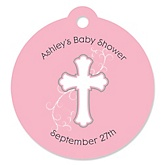 Little Miracle Girl Pink & Gray Cross - Personalized Baby Shower Round Tags - 20 Count