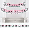 Little Miracle Girl Pink & Gray Cross - Personalized Party Bunting Banner