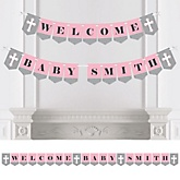 Little Miracle Girl Pink & Gray Cross - Personalized Baby Shower Bunting Banner