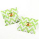 Little Pumpkin African American - Chevron Favor Bags with Personalized Round Party Sticker Labels - 24 Count