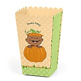 Little Pumpkin African American - Personalized Baby Shower Popcorn Boxes