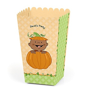 Little Pumpkin African American - Personalized Party Popcorn Favor Boxes
