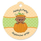 Little Pumpkin African American - Personalized Baby Shower Round Tags - 20 Count
