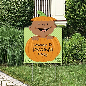 Little Pumpkin African American - Party Decorations - Baby Shower or Birthday Party Personalized Welcome Yard Sign