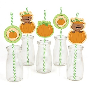 Little Pumpkin African American - Paper Straw Decor - Baby Shower or Birthday Party Striped Decorative Straws - Set of 24