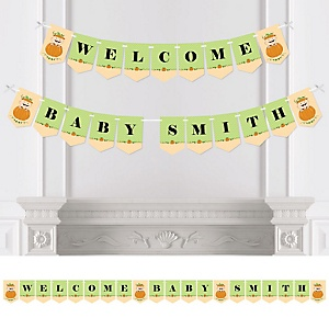 Little Pumpkin Caucasian - Personalized Baby Shower Bunting Banner