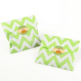 Little Pumpkin Caucasian - Chevron Favor Bags with Personalized Round Party Sticker Labels - 24 Count