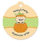 Little Pumpkin Caucasian - Personalized Baby Shower Round Tags - 20 Count