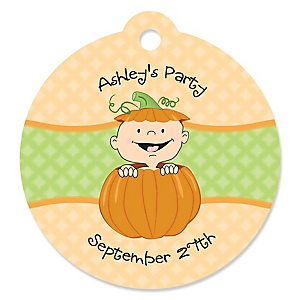 Little Pumpkin Caucasian - Round Personalized Party Tags - 20 ct