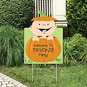 Little Pumpkin Caucasian - Party Decorations - Baby Shower or Birthday Party Personalized Welcome Yard Sign