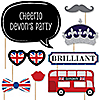 London - 20 Piece British Photo Booth Props Kit