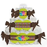 Luau - 3 Tier Personalized Square Baby Shower Diaper Cake