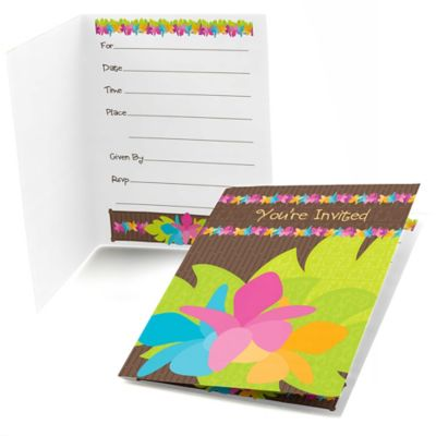 Luau   Baby Shower Fill In Invitations   8 Ct