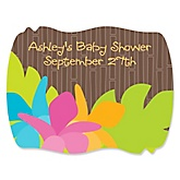 Luau - Personalized Baby Shower Squiggle Sticker Labels - 16 Count