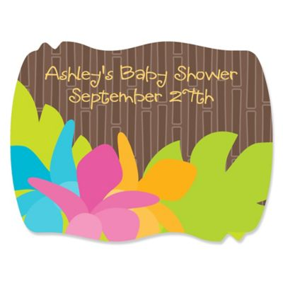 Luau   Personalized Baby Shower Squiggle Stickers   16 Ct