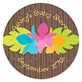 Luau - Personalized Baby Shower Round Sticker Labels - 24 Count