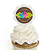 Luau - Personalized Birthday Party Cupcake Pick and Sticker Kit - 12 ct