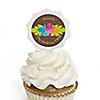 Luau - Personalized Birthday Party Cupcake Pick and Sticker Kit - 12 ct