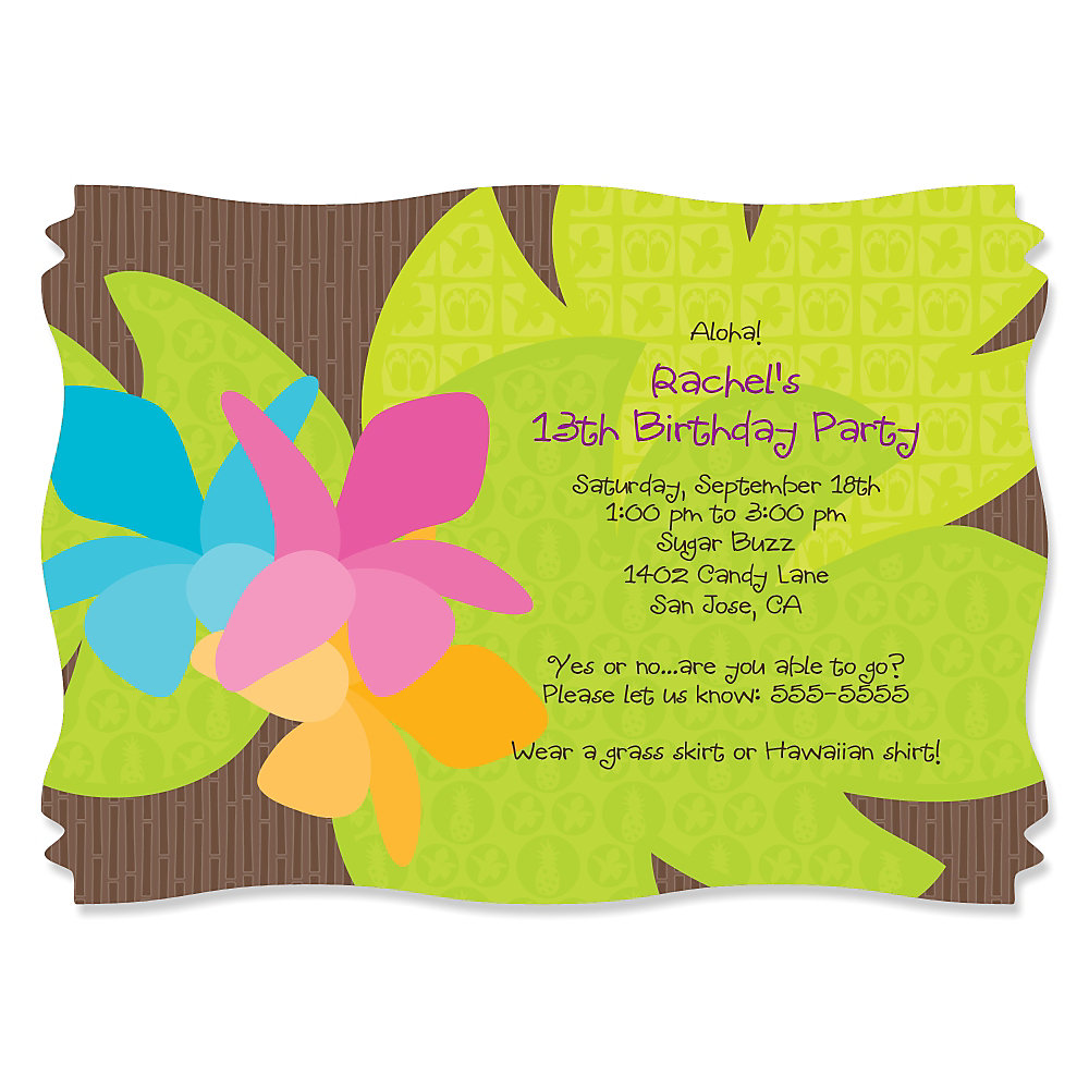 Luau Personalized Birthday Party Invitations – Tropical Birthday Invitations