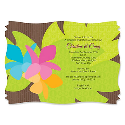 Luau - Personalized Bridal Shower Invitations