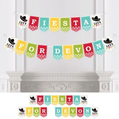 letu0027s fiesta baby shower bunting banner