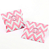 Little Miracle Girl Pink & Gray Cross - Chevron Favor Bags with Personalized Party Sticker Labels - Set of 24