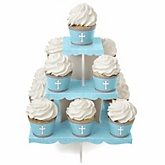 Little Miracle Boy Blue & Gray Cross - Baby Shower Cupcake Stand & 13 Cupcake Wrappers