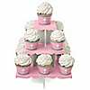 Little Miracle Girl Pink & Gray Cross - Baby Shower Cupcake Stand and 13 Cupcake Wrappers