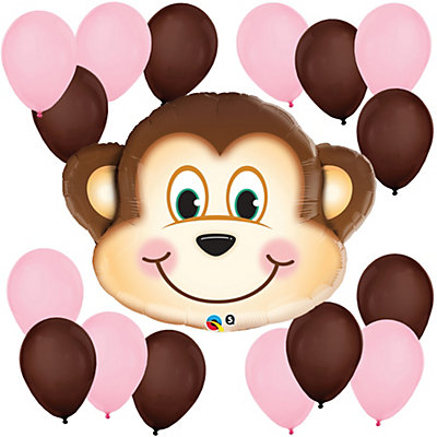mischievous monkey girl baby shower balloon kit bigdotofhappiness