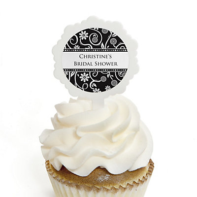 Modern Floral Black & White - Personalized Bridal Shower Cupcake Pick and Sticker Kit - 12 ct