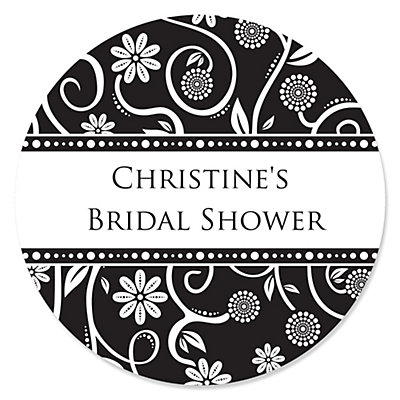 Modern Floral Black & White - Personalized Bridal Shower Sticker Labels - 24 ct