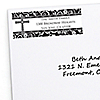 Modern Floral Black & White Cross - Personalized Baptism Return Address Labels - 30 ct