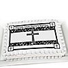 Modern Floral Black & White Cross - Personalized Baptism Cake Toppers