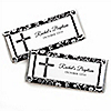 Modern Floral Black - White Cross - Personalized Baptism Candy Bar Wrapper Favors