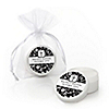 Modern Floral Black & White Cross - Personalized Baptism Lip Balm Favors