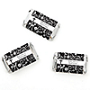Modern Floral Black & White Cross - Personalized Baptism Mini Candy Bar Wrapper Favors - 20 ct