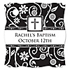 Modern Floral Black & White Cross - Personalized Baptism Tags - 20 ct