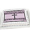 Modern Floral Wild Orchid Cross - Personalized Baptism Cake Toppers