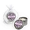 Modern Floral Wild Orchid Cross - Personalized Baptism Candle Tin Favors