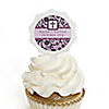 Modern Floral Wild Orchid Cross - Personalized Baptism Cupcake Picks and Sticker Kit - 12 ct