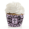 Modern Floral Wild Orchid Cross - Baptism Cupcake Wrappers & Decorations