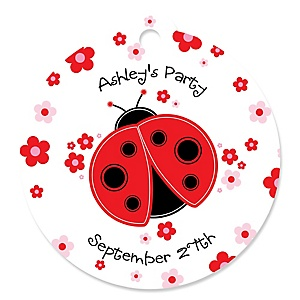 Modern Ladybug - Personalized Baby Shower Round Tags - 20 Count