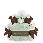 Mommy Silhouette It's A Baby - 2 Tier Personalized Square Baby Shower Diaper Cake