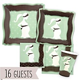Mommy Silhouette It's A Baby - Baby Shower Tableware Bundle for 16 Guests
