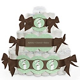 Mommy Silhouette It's A Baby - 3 Tier Personalized Square Baby Shower Diaper Cake