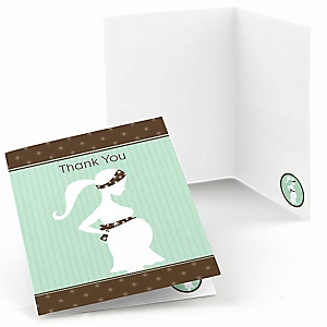 Mommy Silhouette It's A Baby - Baby Shower Thank You Cards - 8 ct