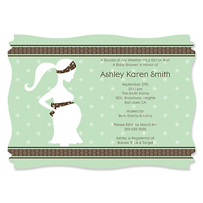Mommy Silhouette It's A Baby - Personalized Baby Shower Invitations Baby Shower Party Supplies