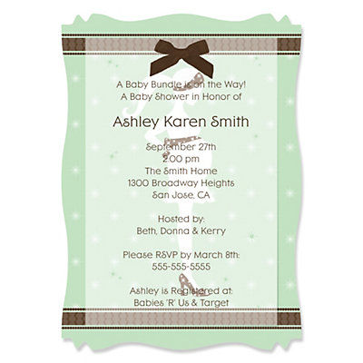 Mommy Silhouette It's A Baby - High Quality Vellum Overlay Baby Shower Invitations With Squiggle Shape Baby Shower Party Supplies